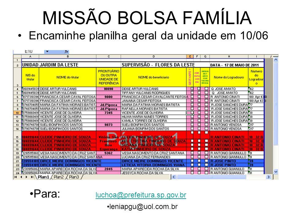 MISSÃO BOLSA FAMÍLIA Encaminhe planilha geral da unidade em 10/06 Para: luchoa@prefeitura.sp.gov.br luchoa@prefeitura.sp.gov.br leniapgu@uol.com.br