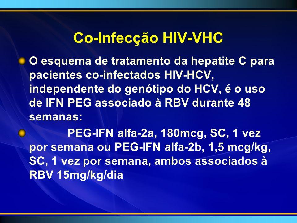 Co-Infecção HIV-VHC O esquema de tratamento da hepatite C para pacientes co-infectados HIV-HCV, independente do genótipo do HCV, é o uso de IFN PEG associado à RBV durante 48 semanas: PEG-IFN alfa-2a, 180mcg, SC, 1 vez por semana ou PEG-IFN alfa-2b, 1,5 mcg/kg, SC, 1 vez por semana, ambos associados à RBV 15mg/kg/dia