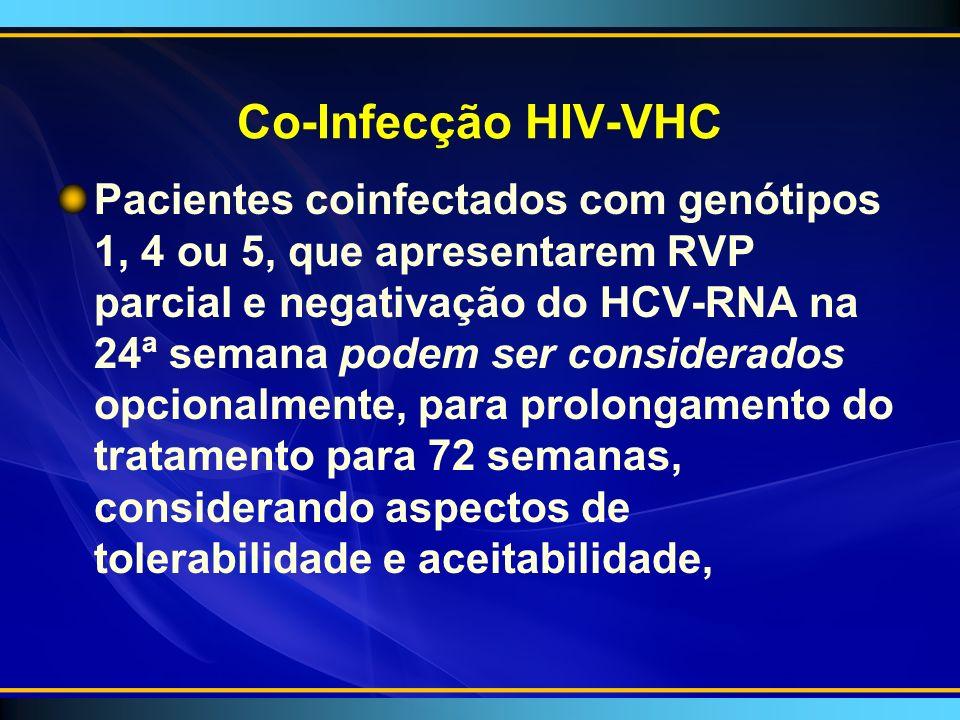 Co-Infecção HIV-VHC Pacientes coinfectados com genótipos 1, 4 ou 5, que apresentarem RVP parcial e negativação do HCV-RNA na 24ª semana podem ser considerados opcionalmente, para prolongamento do tratamento para 72 semanas, considerando aspectos de tolerabilidade e aceitabilidade,