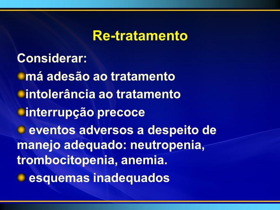 Re-tratamento Considerar: má adesão ao tratamento intolerância ao tratamento interrupção precoce eventos adversos a despeito de manejo adequado: neutropenia, trombocitopenia, anemia.