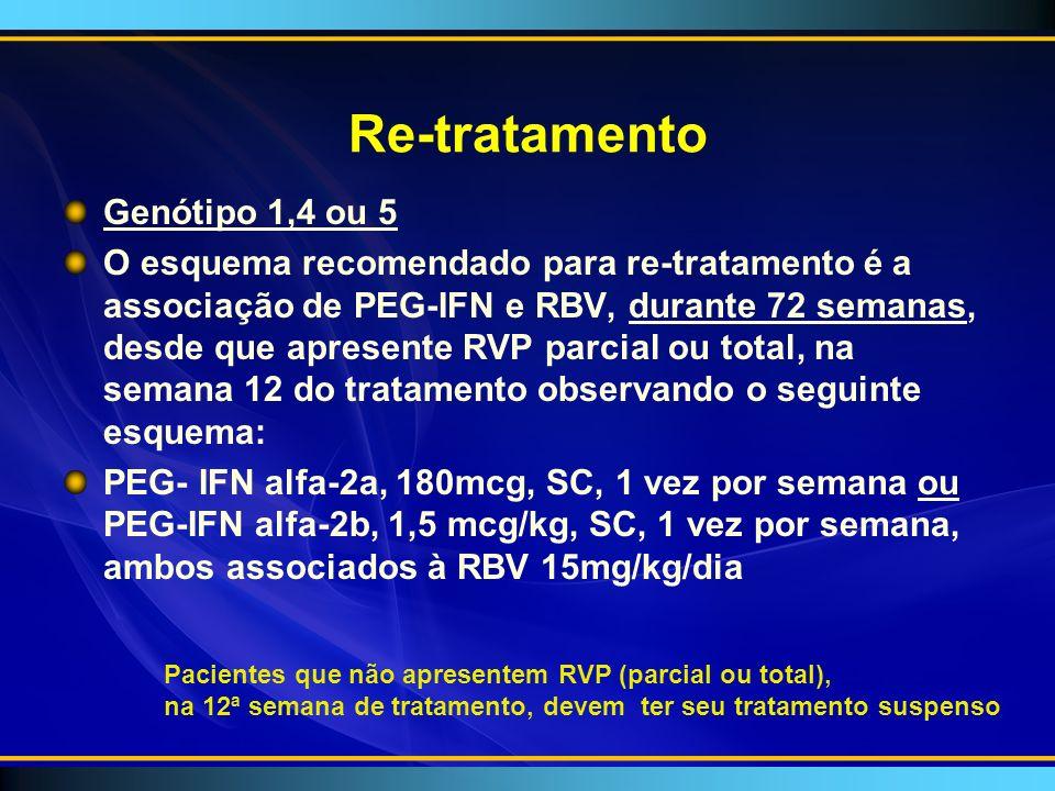 Re-tratamento Genótipo 1,4 ou 5 O esquema recomendado para re-tratamento é a associação de PEG-IFN e RBV, durante 72 semanas, desde que apresente RVP parcial ou total, na semana 12 do tratamento observando o seguinte esquema: PEG- IFN alfa-2a, 180mcg, SC, 1 vez por semana ou PEG-IFN alfa-2b, 1,5 mcg/kg, SC, 1 vez por semana, ambos associados à RBV 15mg/kg/dia Pacientes que não apresentem RVP (parcial ou total), na 12ª semana de tratamento, devem ter seu tratamento suspenso