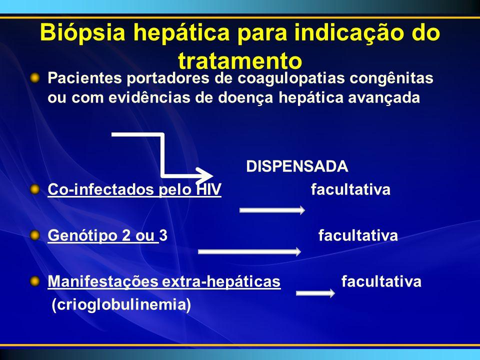 Biópsia hepática para indicação do tratamento Pacientes portadores de coagulopatias congênitas ou com evidências de doença hepática avançada DISPENSADA Co-infectados pelo HIV facultativa Genótipo 2 ou 3 facultativa Manifestações extra-hepáticas facultativa (crioglobulinemia)