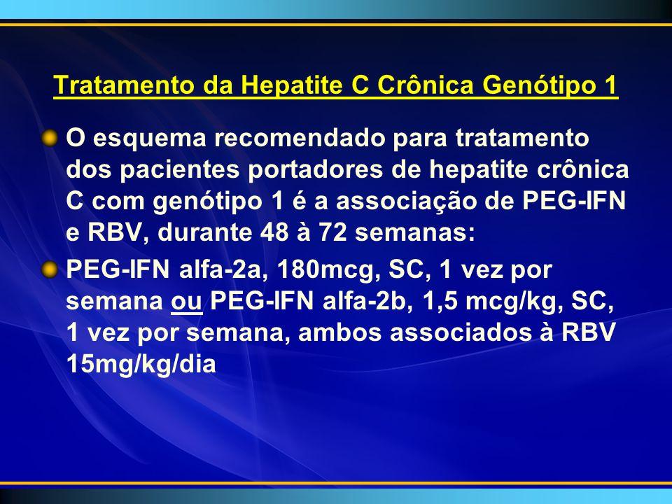 Tratamento da Hepatite C Crônica Genótipo 1 O esquema recomendado para tratamento dos pacientes portadores de hepatite crônica C com genótipo 1 é a associação de PEG-IFN e RBV, durante 48 à 72 semanas: PEG-IFN alfa-2a, 180mcg, SC, 1 vez por semana ou PEG-IFN alfa-2b, 1,5 mcg/kg, SC, 1 vez por semana, ambos associados à RBV 15mg/kg/dia