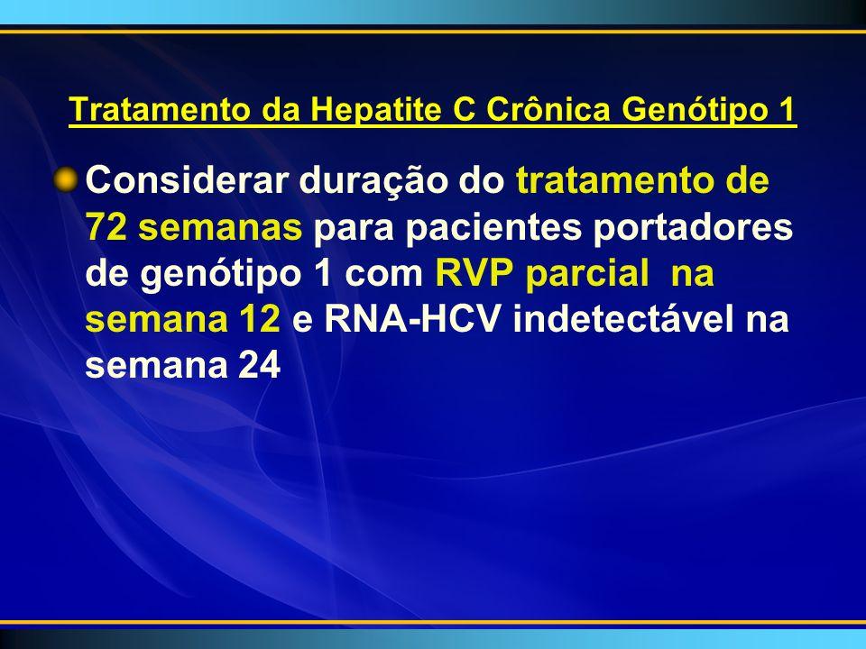 Tratamento da Hepatite C Crônica Genótipo 1 Considerar duração do tratamento de 72 semanas para pacientes portadores de genótipo 1 com RVP parcial na semana 12 e RNA-HCV indetectável na semana 24