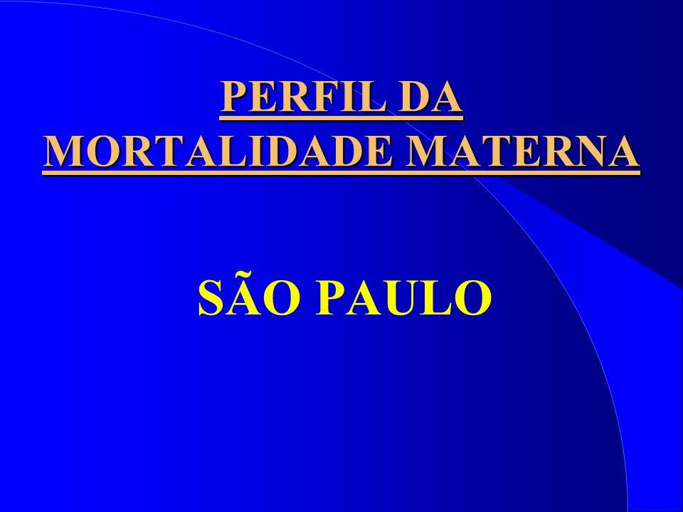 PERFIL DA MORTALIDADE MATERNA SÃO PAULO