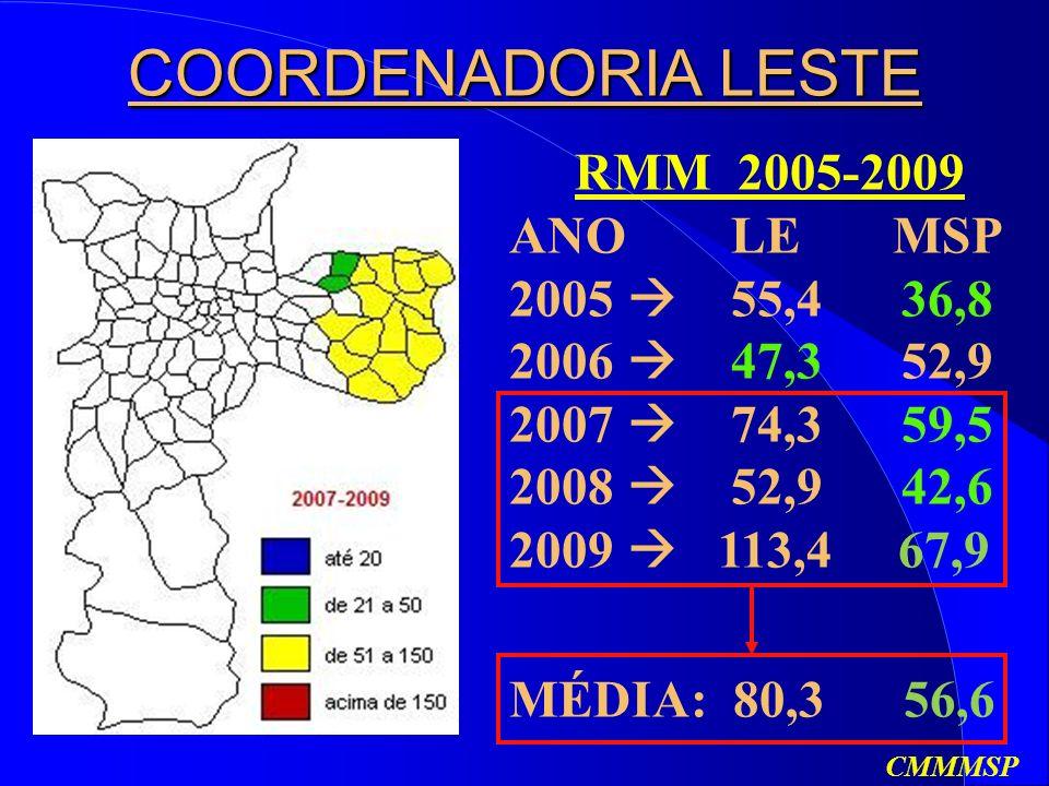 RMM 2005-2009 ANO LE MSP 2005 55,4 36,8 2006 47,3 52,9 2007 74,3 59,5 2008 52,9 42,6 2009 113,4 67,9 COORDENADORIA LESTE MÉDIA: 80,3 56,6