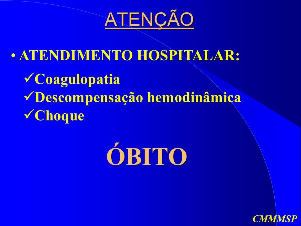 ATENÇÃO ATENDIMENTO HOSPITALAR: Coagulopatia Descompensação hemodinâmica Choque ÓBITO CMMMSP