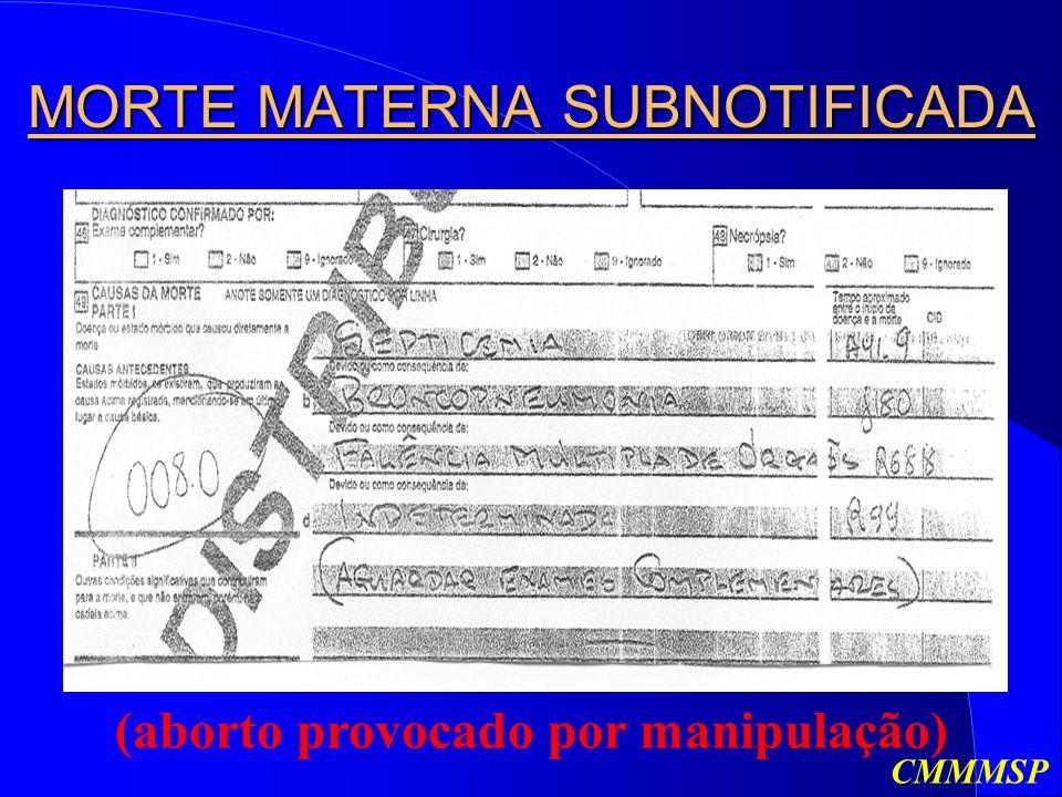 MORTE MATERNA SUBNOTIFICADA (aborto provocado por manipulação) CMMMSP