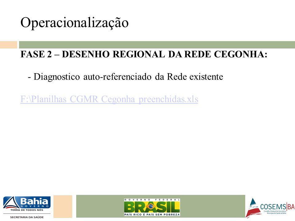 24/05/11 FASE 2 – DESENHO REGIONAL DA REDE CEGONHA: - Diagnostico auto-referenciado da Rede existente F:\Planilhas CGMR Cegonha preenchidas.xls Operac