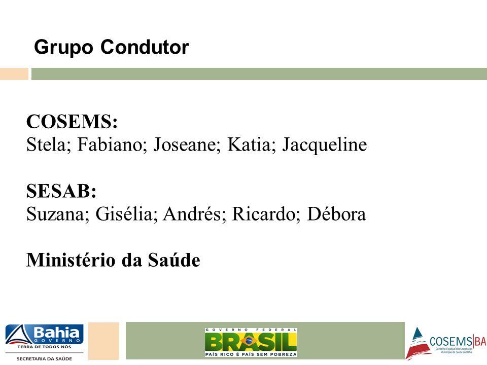 24/05/11 COSEMS: Stela; Fabiano; Joseane; Katia; Jacqueline SESAB: Suzana; Gisélia; Andrés; Ricardo; Débora Ministério da Saúde Grupo Condutor