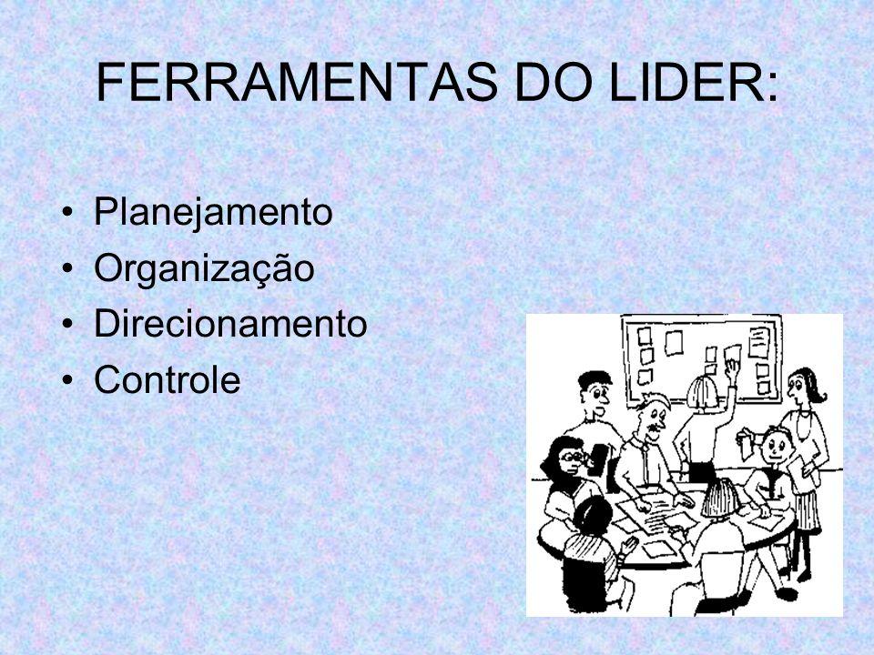 FERRAMENTAS DO LIDER: Planejamento Organização Direcionamento Controle