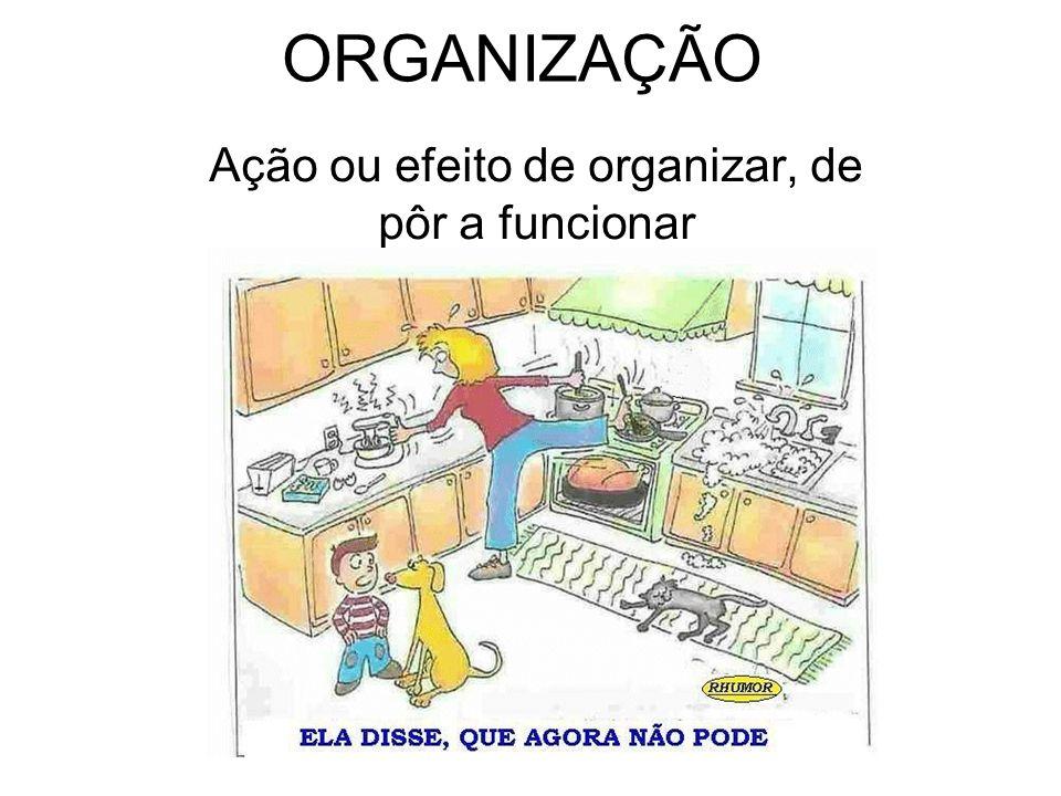 ORGANIZAÇÃO Ação ou efeito de organizar, de pôr a funcionar