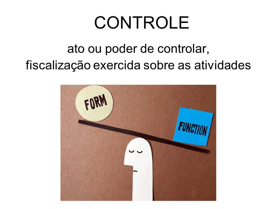CONTROLE ato ou poder de controlar, fiscalização exercida sobre as atividades