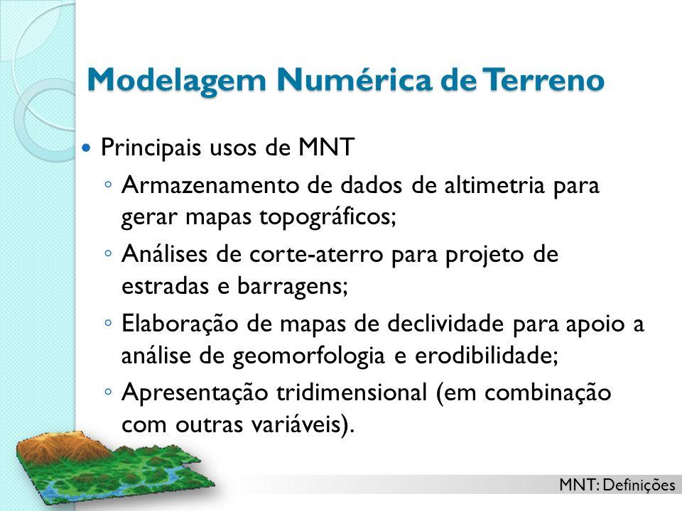 MNT: Definições Modelagem Numérica de Terreno Principais usos de MNT Armazenamento de dados de altimetria para gerar mapas topográficos; Análises de c