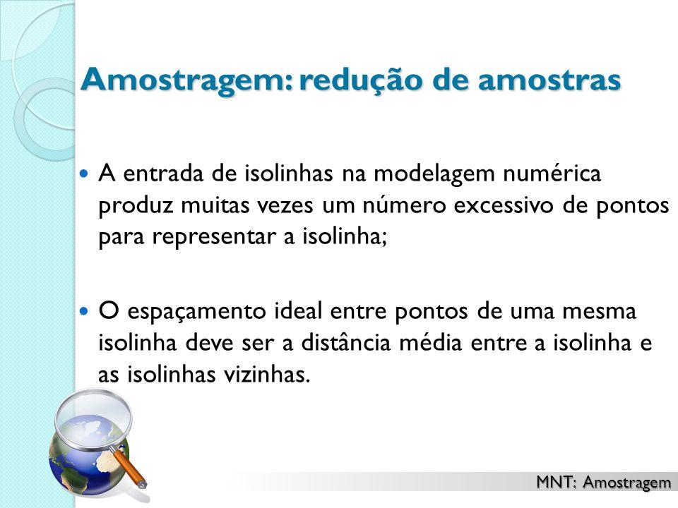 Amostragem: redução de amostras A entrada de isolinhas na modelagem numérica produz muitas vezes um número excessivo de pontos para representar a isol