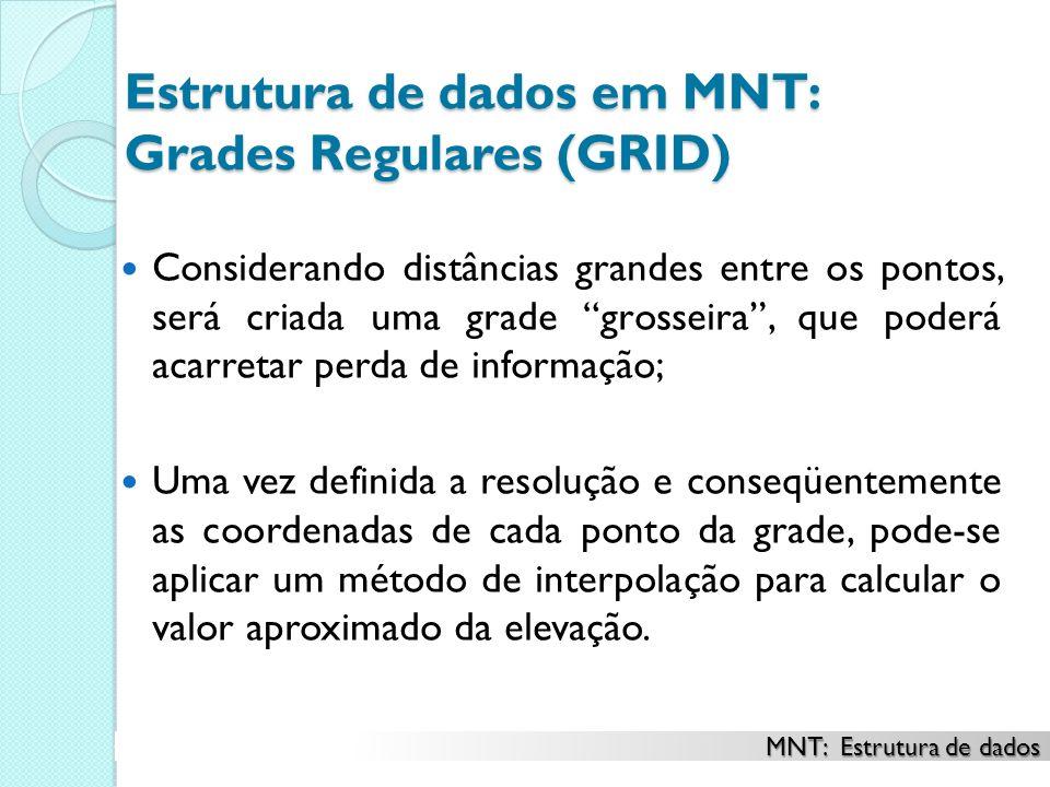 Estrutura de dados em MNT: Grades Regulares (GRID) Considerando distâncias grandes entre os pontos, será criada uma grade grosseira, que poderá acarre