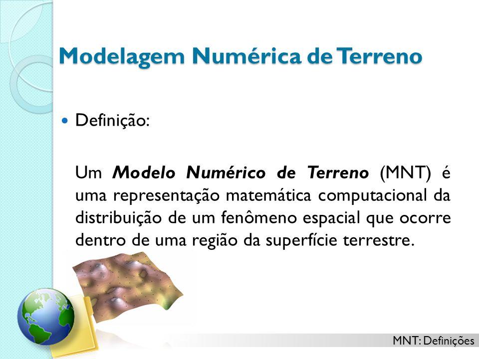 MNT: Definições Modelagem Numérica de Terreno Definição: Um Modelo Numérico de Terreno (MNT) é uma representação matemática computacional da distribuição de um fenômeno espacial que ocorre dentro de uma região da superfície terrestre.
