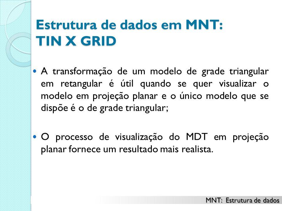 Estrutura de dados em MNT: TIN X GRID A transformação de um modelo de grade triangular em retangular é útil quando se quer visualizar o modelo em projeção planar e o único modelo que se dispõe é o de grade triangular; O processo de visualização do MDT em projeção planar fornece um resultado mais realista.