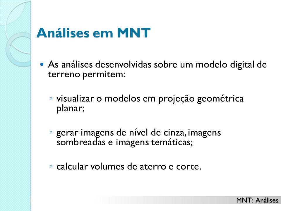 Análises em MNT As análises desenvolvidas sobre um modelo digital de terreno permitem: visualizar o modelos em projeção geométrica planar; gerar image