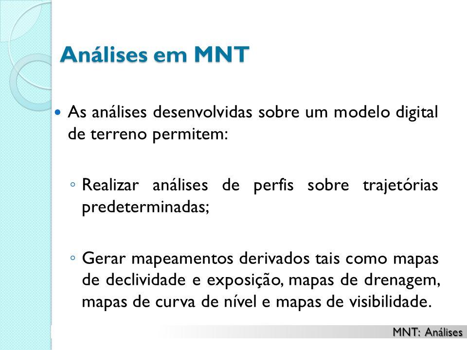 Análises em MNT As análises desenvolvidas sobre um modelo digital de terreno permitem: Realizar análises de perfis sobre trajetórias predeterminadas;