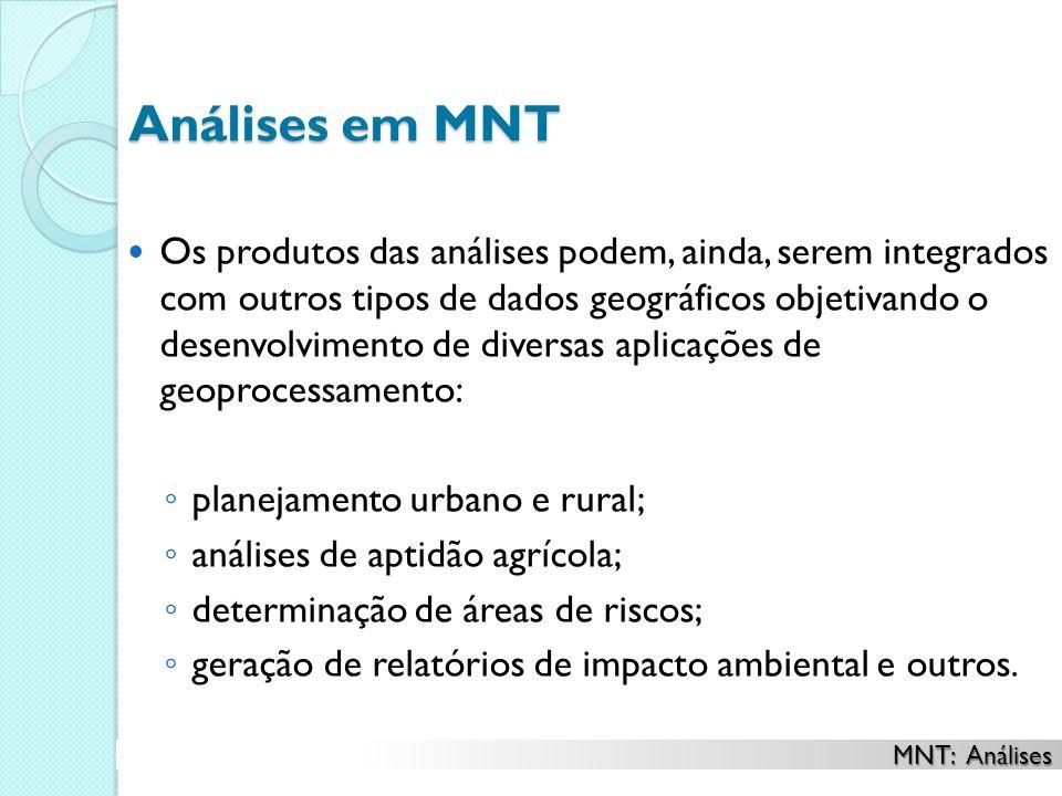 Análises em MNT Os produtos das análises podem, ainda, serem integrados com outros tipos de dados geográficos objetivando o desenvolvimento de diversa