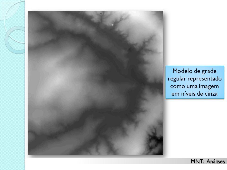 Modelo de grade regular representado como uma imagem em níveis de cinza Modelo de grade regular representado como uma imagem em níveis de cinza MNT: A