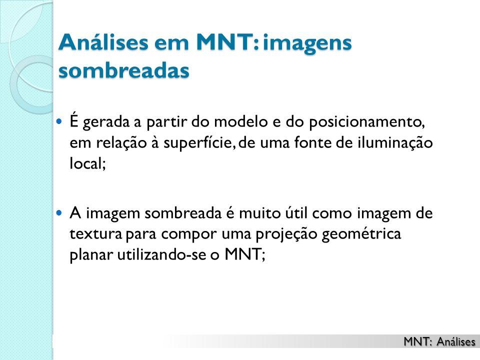 Análises em MNT: imagens sombreadas É gerada a partir do modelo e do posicionamento, em relação à superfície, de uma fonte de iluminação local; A imag