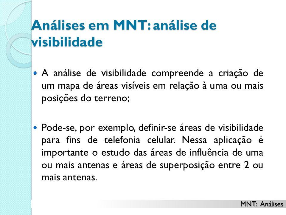 Análises em MNT: análise de visibilidade. A análise de visibilidade compreende a criação de um mapa de áreas visíveis em relação à uma ou mais posiçõe