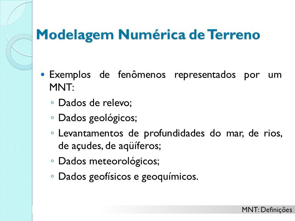 Modelagem Numérica de Terreno Exemplos de fenômenos representados por um MNT: Dados de relevo; Dados geológicos; Levantamentos de profundidades do mar