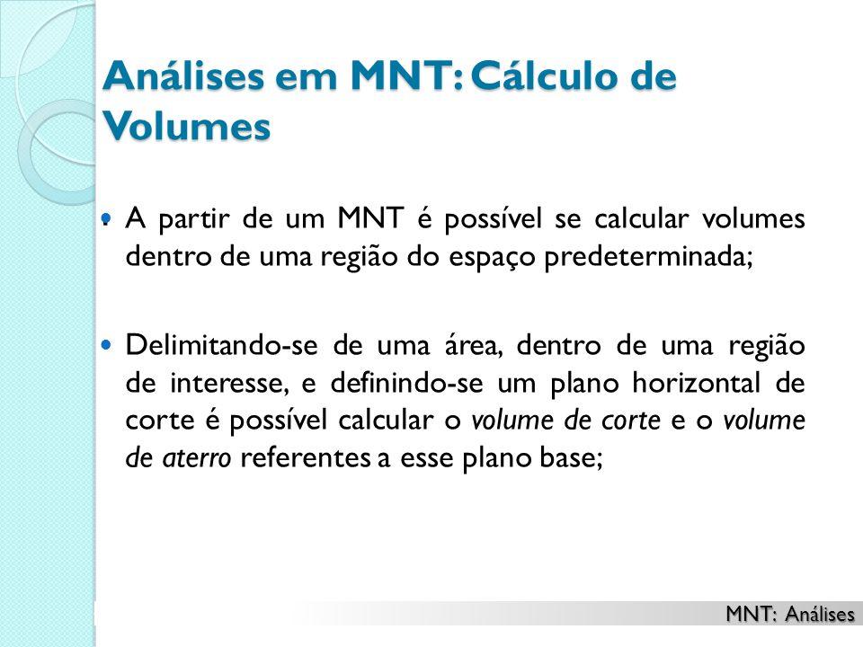 Análises em MNT: Cálculo de Volumes. A partir de um MNT é possível se calcular volumes dentro de uma região do espaço predeterminada; Delimitando-se d