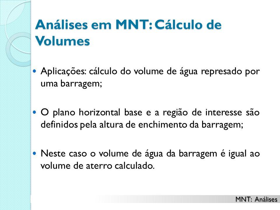 Análises em MNT: Cálculo de Volumes Aplicações: cálculo do volume de água represado por uma barragem; O plano horizontal base e a região de interesse