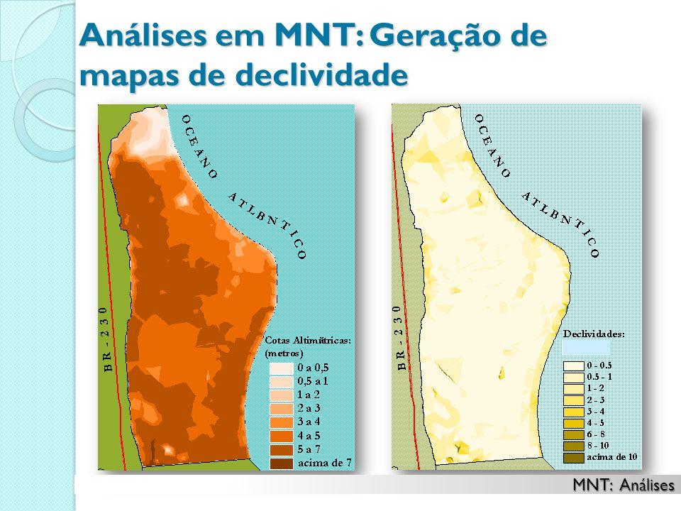 Análises em MNT: Geração de mapas de declividade MNT: Análises