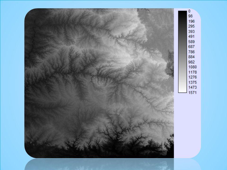 Análises em MNT: imagens sombreadas É gerada a partir do modelo e do posicionamento, em relação à superfície, de uma fonte de iluminação local; A imagem sombreada é muito útil como imagem de textura para compor uma projeção geométrica planar utilizando-se o MNT; MNT: Análises