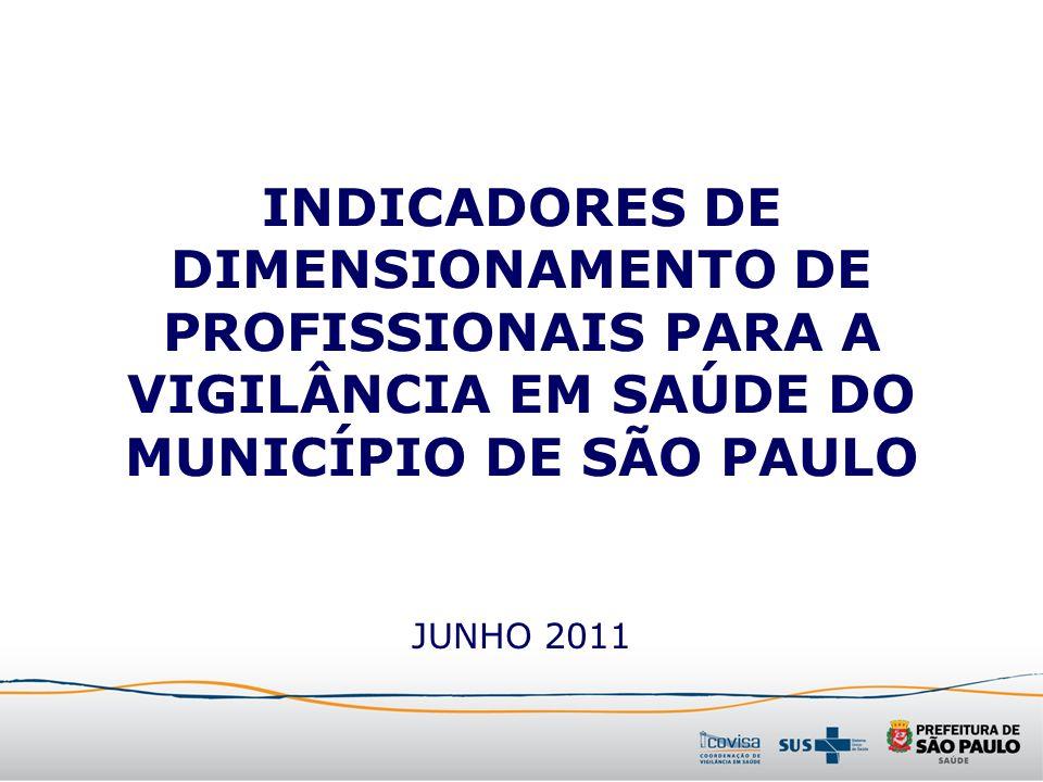 INDICADORES DE DIMENSIONAMENTO DE PROFISSIONAIS PARA A VIGILÂNCIA EM SAÚDE DO MUNICÍPIO DE SÃO PAULO JUNHO 2011
