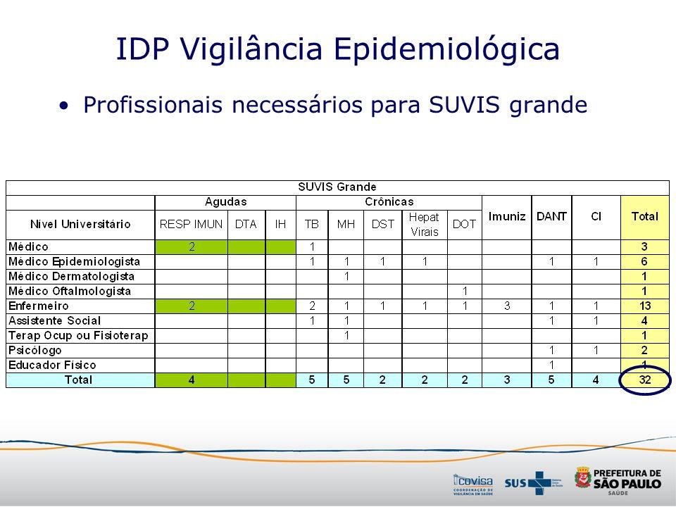 IDP Vigilância Epidemiológica Profissionais necessários para SUVIS grande
