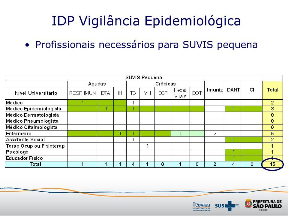 IDP Vigilância Epidemiológica Profissionais necessários para SUVIS pequena