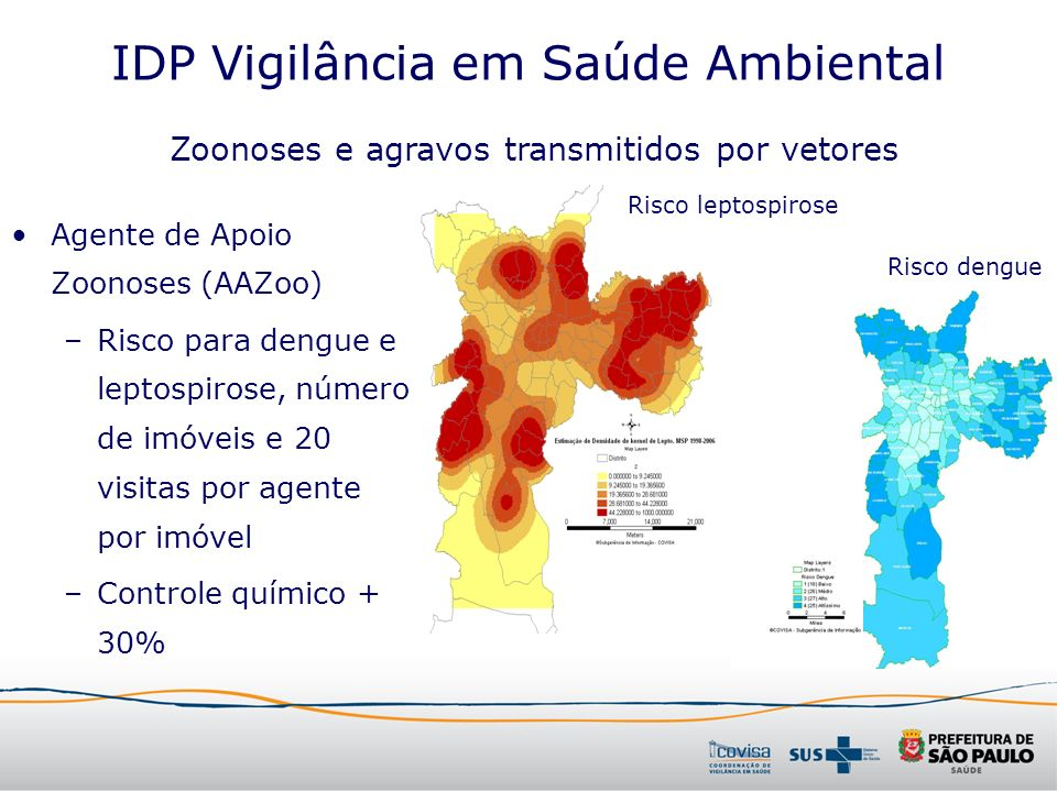 IDP Vigilância em Saúde Ambiental Agente de Apoio Zoonoses (AAZoo) –Risco para dengue e leptospirose, número de imóveis e 20 visitas por agente por im