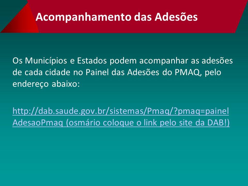 Acompanhamento das Adesões Os Municípios e Estados podem acompanhar as adesões de cada cidade no Painel das Adesões do PMAQ, pelo endereço abaixo: http://dab.saude.gov.br/sistemas/Pmaq/?pmaq=painel AdesaoPmaq (osmário coloque o link pelo site da DAB!)