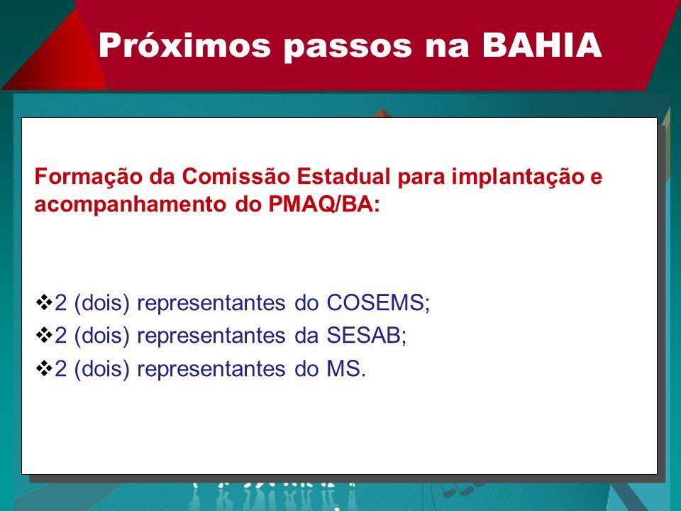 Próximos passos na BAHIA Formação da Comissão Estadual para implantação e acompanhamento do PMAQ/BA: 2 (dois) representantes do COSEMS; 2 (dois) repre