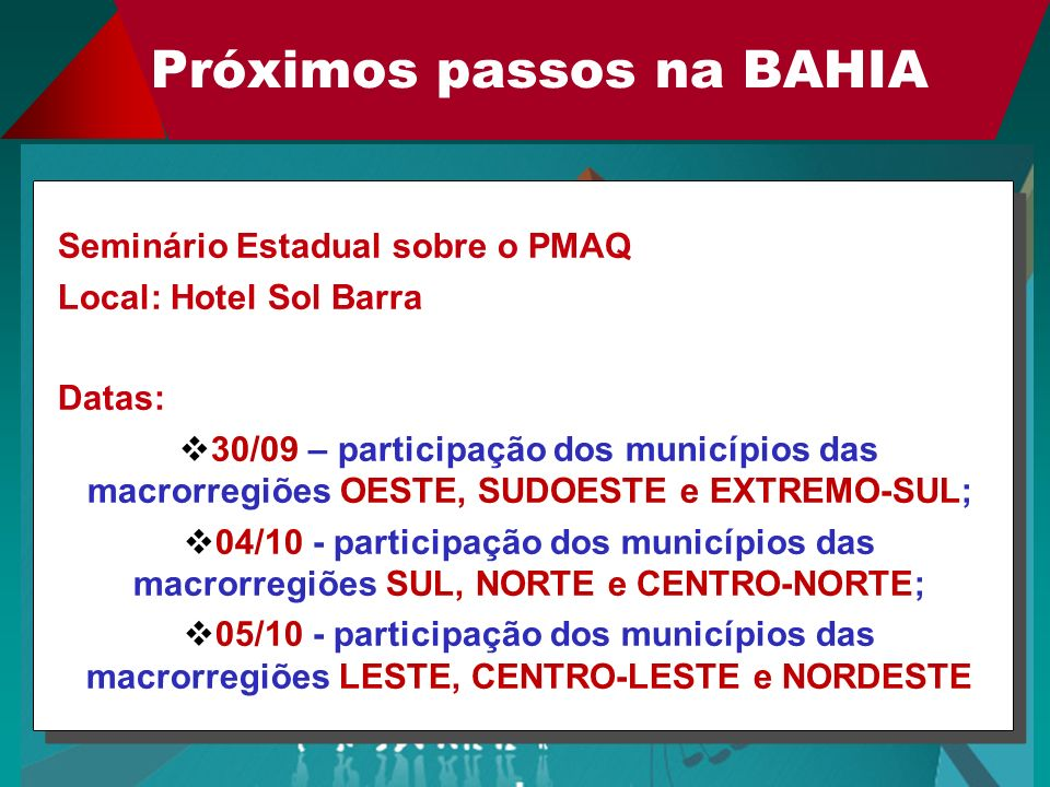 Próximos passos na BAHIA Seminário Estadual sobre o PMAQ Local: Hotel Sol Barra Datas: 30/09 – participação dos municípios das macrorregiões OESTE, SU