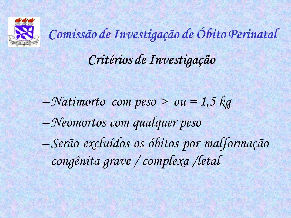 Comissão de Investigação de Óbito Perinatal Critérios de Investigação –Natimorto com peso > ou = 1,5 kg –Neomortos com qualquer peso –Serão excluídos