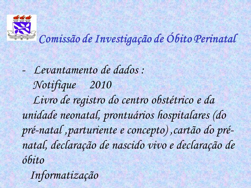 Comissão de Investigação de Óbito Perinatal - Levantamento de dados : Notifique 2010 Livro de registro do centro obstétrico e da unidade neonatal, pro