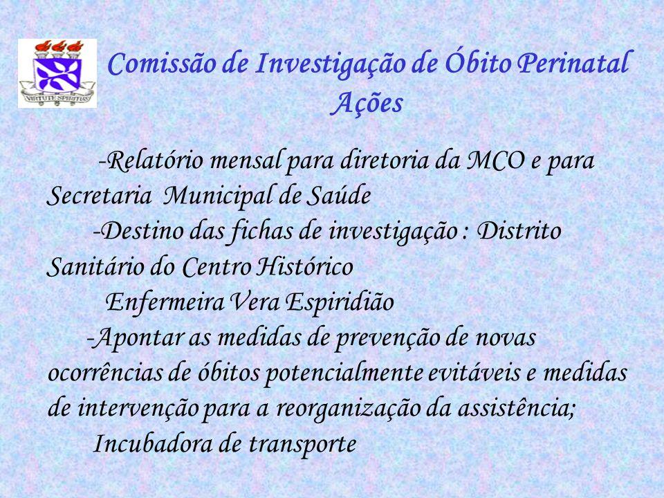 -Relatório mensal para diretoria da MCO e para Secretaria Municipal de Saúde -Destino das fichas de investigação : Distrito Sanitário do Centro Histór