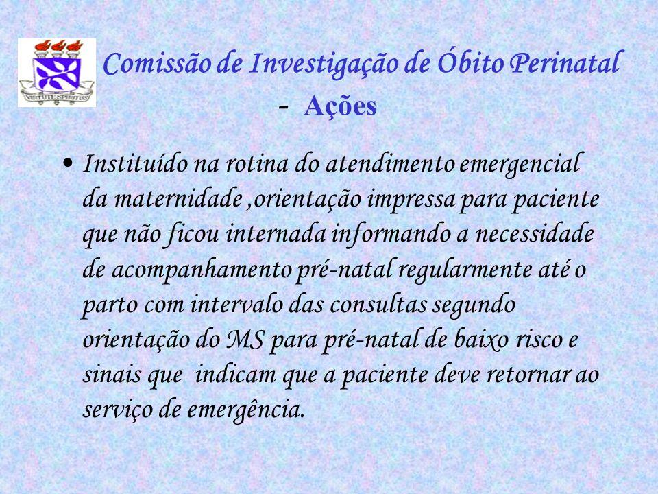 Comissão de Investigação de Óbito Perinatal - Ações Instituído na rotina do atendimento emergencial da maternidade,orientação impressa para paciente q