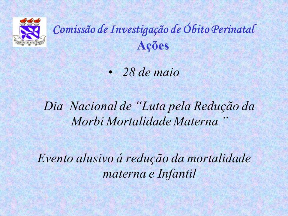 28 de maio Dia Nacional de Luta pela Redução da Morbi Mortalidade Materna Evento alusivo á redução da mortalidade materna e Infantil Comissão de Inves