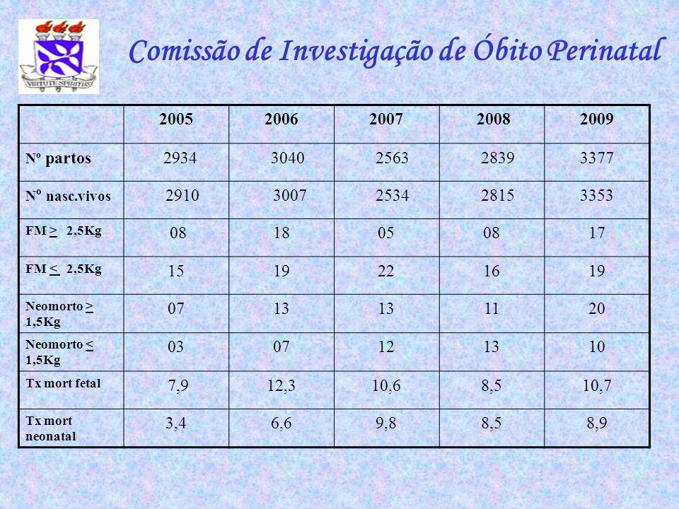 Comissão de Investigação de Óbito Perinatal 200520062007 20082009 Nº partos 2934 3040 2563 28393377 N º nasc.vivos 2910 3007 2534 28153353 FM > 2,5Kg