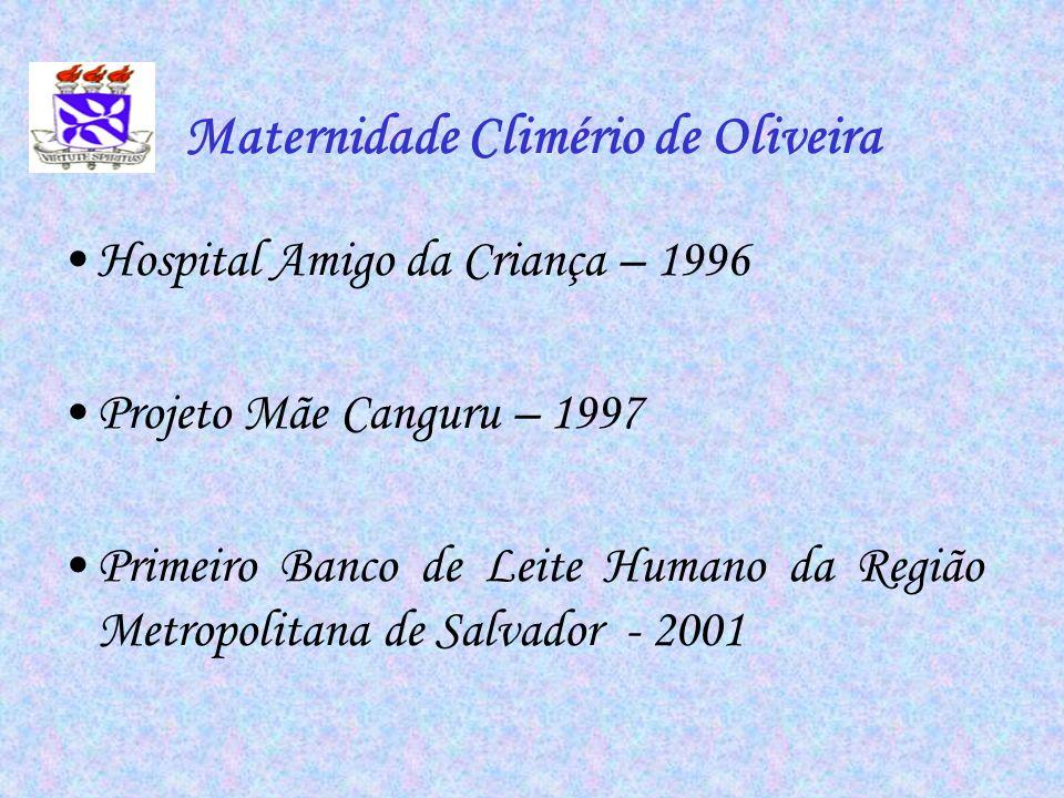 Maternidade Climério de Oliveira Hospital Amigo da Criança – 1996 Projeto Mãe Canguru – 1997 Primeiro Banco de Leite Humano da Região Metropolitana de