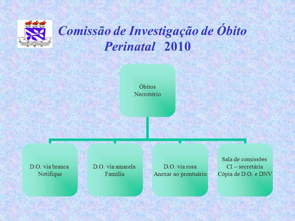 Comissão de Investigação de Óbito Perinatal 2010 Óbitos Necrotério D.O. via branca Notifique D.O. via amarela Família D.O. via rosa Anexar ao prontuár