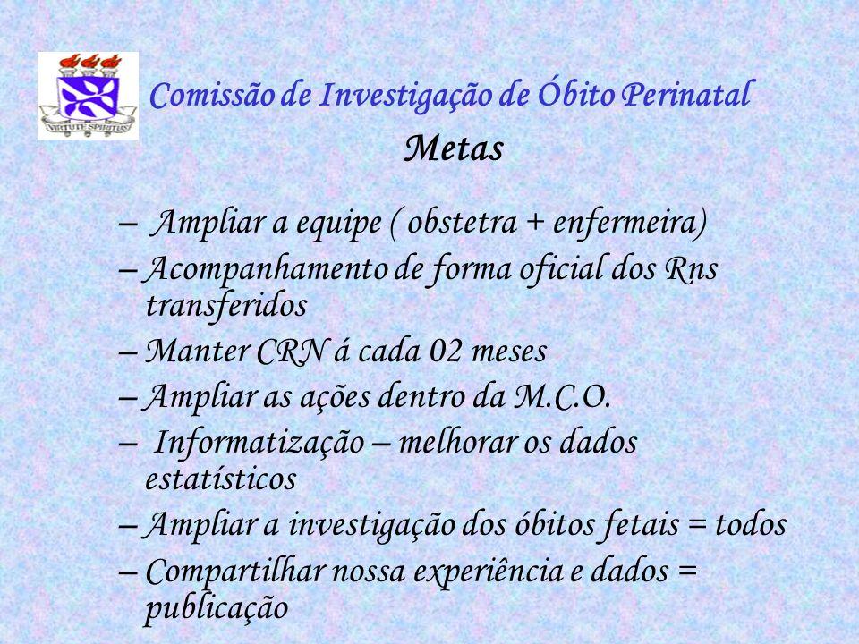 Comissão de Investigação de Óbito Perinatal Metas – Ampliar a equipe ( obstetra + enfermeira) –Acompanhamento de forma oficial dos Rns transferidos –M