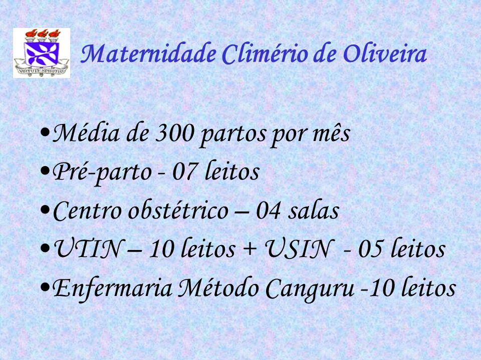 Média de 300 partos por mês Pré-parto - 07 leitos Centro obstétrico – 04 salas UTIN – 10 leitos + USIN - 05 leitos Enfermaria Método Canguru -10 leito